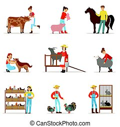 Breeding animals farmland. Farm profession worker people...