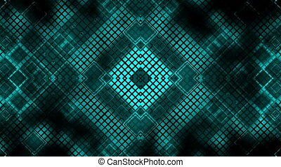 High tech VJ looping blue square abstract geometric background
