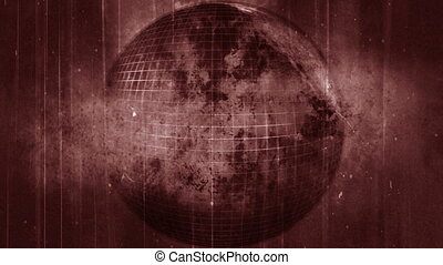 Dirty grunge globe in pale red looping animated background -...