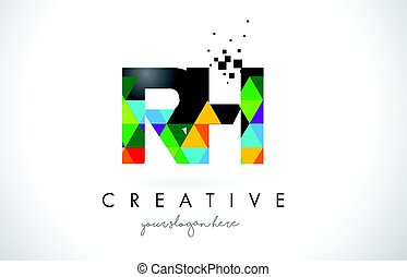 RH R H Letter Logo with Colorful Triangles Texture Design...