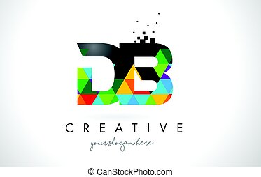 DB D B Letter Logo with Colorful Triangles Texture Design...