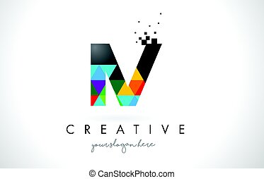 IV I V Letter Logo with Colorful Triangles Texture Design...