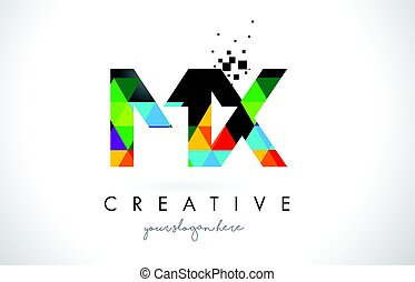 MX M X Letter Logo with Colorful Triangles Texture Design...