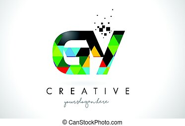 GY G Y Letter Logo with Colorful Triangles Texture Design...