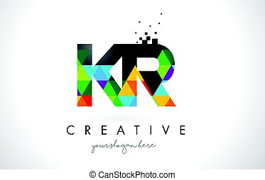 KR K R Letter Logo with Colorful Triangles Texture Design...