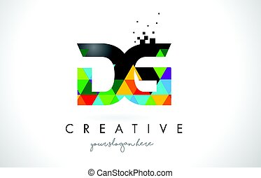 DG D G Letter Logo with Colorful Triangles Texture Design...