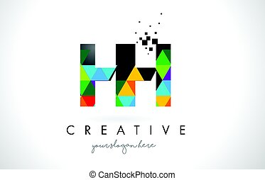 HH H H Letter Logo with Colorful Triangles Texture Design...