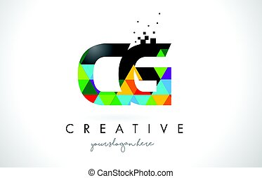 CG C G Letter Logo with Colorful Triangles Texture Design...