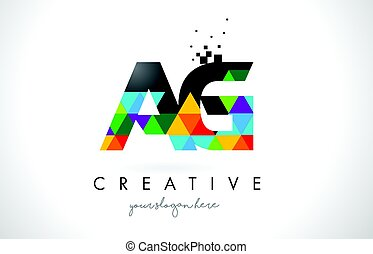 AG A G Letter Logo with Colorful Triangles Texture Design...