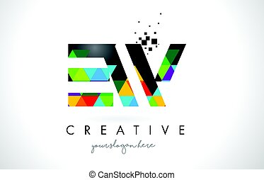 EW E W Letter Logo with Colorful Triangles Texture Design...