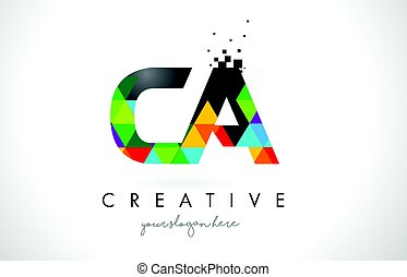 CA C A Letter Logo with Colorful Triangles Texture Design...