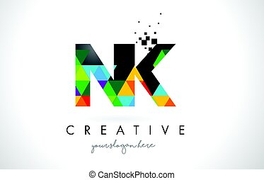 NK N K Letter Logo with Colorful Triangles Texture Design...