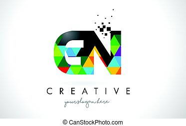 GN G N Letter Logo with Colorful Triangles Texture Design...