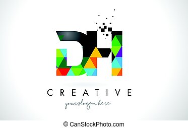 DH D H Letter Logo with Colorful Triangles Texture Design...