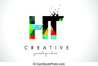 HT H T Letter Logo with Colorful Triangles Texture Design...