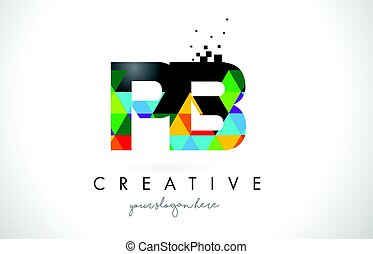 PB P B Letter Logo with Colorful Triangles Texture Design...