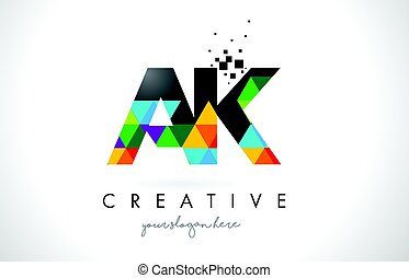 AK A K Letter Logo with Colorful Triangles Texture Design...