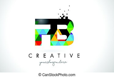 FB F B Letter Logo with Colorful Triangles Texture Design...