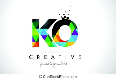 KO K O Letter Logo with Colorful Triangles Texture Design...