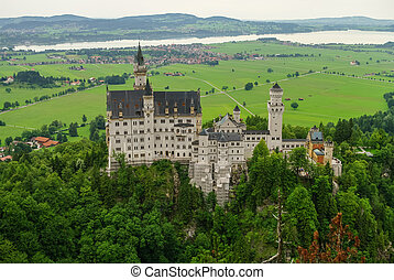 Beautiful view of world-famous Neuschwanstein Castle, the...