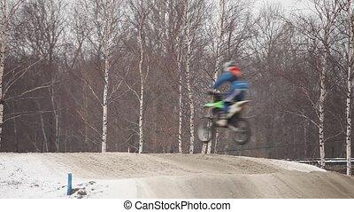 jumps on motorcycle motocross - jumps flight on motorcycle...