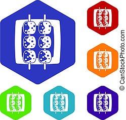 Meat shashlik icons set hexagon isolated vector illustration