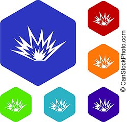 Nuclear explosion icons set hexagon isolated vector...