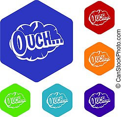 Ouch, speech cloud icons set hexagon isolated vector...