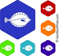 Flounder icons set hexagon isolated vector illustration
