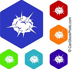 Power explosion icons set hexagon isolated vector...