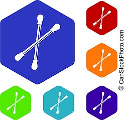 Cotton buds icons set hexagon isolated vector illustration