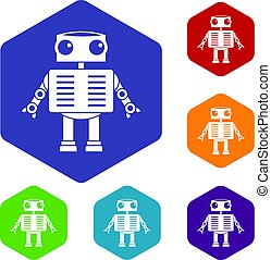 Robot with big eyes icons set hexagon isolated vector...