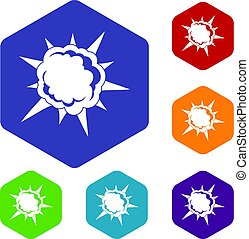 Powerful explosion icons set hexagon isolated vector...