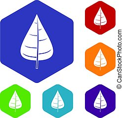Poplar leaf icons set hexagon isolated vector illustration