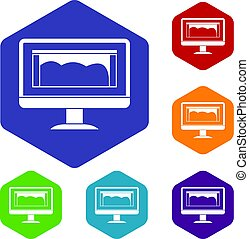 Drawing monitor icons set hexagon isolated vector...