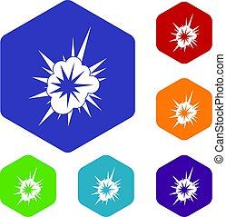 Nucleate explosion icons set hexagon isolated vector...