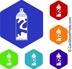 Colored spray icons set hexagon isolated vector illustration