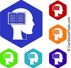 Head with open book icons set hexagon