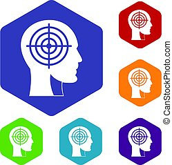 Crosshair in human head icons set hexagon isolated vector...