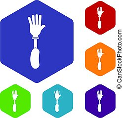 Prosthesis hand icons set hexagon isolated vector...
