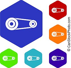 Mechanic belt icons set hexagon isolated vector illustration