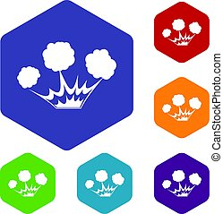 Explosion icons set hexagon isolated vector illustration