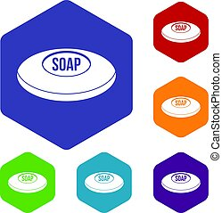Soap icons set hexagon isolated vector illustration