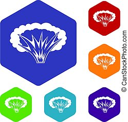 Atomical explosion icons set hexagon isolated vector...