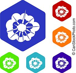 Cloudy explosion icons set hexagon isolated vector...