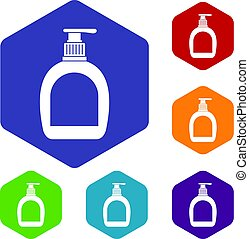 Bottle with liquid soap icons set hexagon isolated vector...