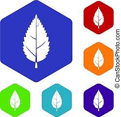 Hornbeam leaf icons set hexagon isolated vector illustration
