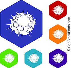 Atomic explosion icons set hexagon isolated vector...