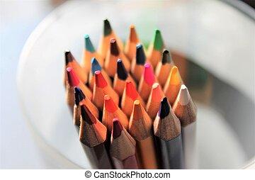 colored pencils close up sharpened rainbow many choice