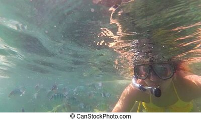 Girl bathe in the sea with fish. Scuba Diving in Masks